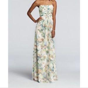 David's Bridal Strapless Chiffon Floral Dress